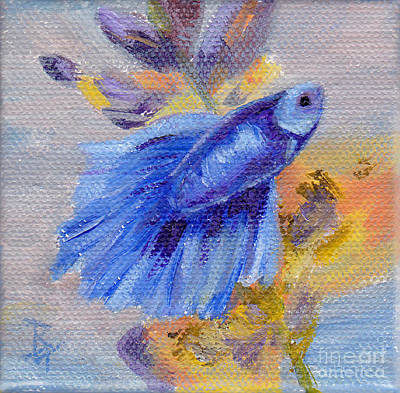 Painting - Little Blue Betta Fish by Brenda Thour