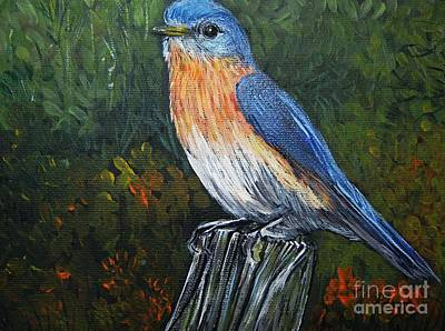 Nature Scene Painting - Little Blue Bird by Reb Frost