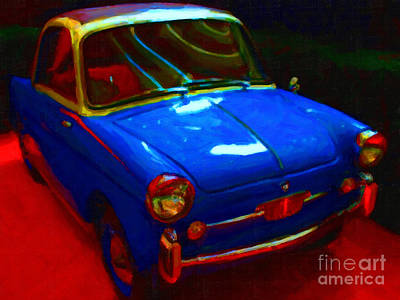 Wings Domain Photograph - Little Blue Italian Car by Wingsdomain Art and Photography