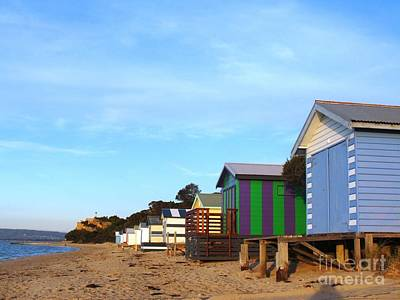 Little Boatsheds In A Row Art Print by Therese Alcorn