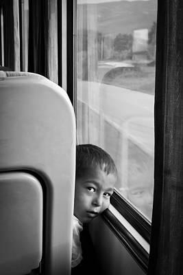 Little Boy Traveller Art Print by Jim Perpetos