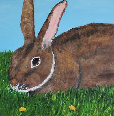 Art Print featuring the painting Little Brown Bunny by Christie Minalga