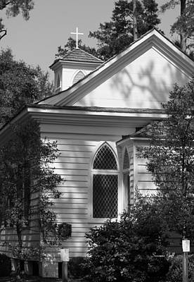 Little Chapel In The Woods In Black And White Art Print by Suzanne Gaff