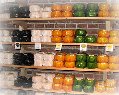 Little Cheeses On A Shelf In Amsterdam Art Print by Trude Janssen
