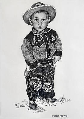 Drawing - Little Cowboy by Carmen Del Valle