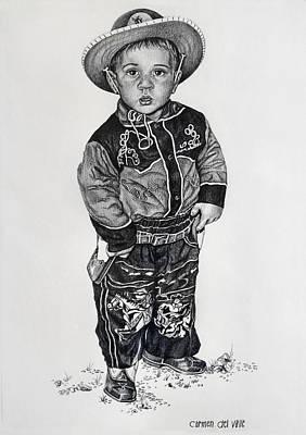 Drawing - Little Cowboy by Carmen Del Valle