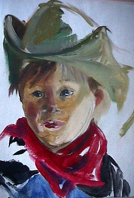 Painting - Little Cowboy by Jan Swaren
