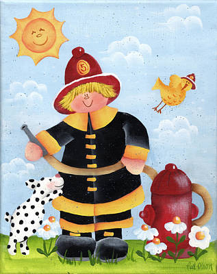 Little Fireman Art Print by Pat Olson
