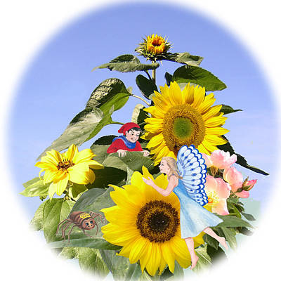 Little Folk Among The Sunflowers Art Print by Maureen Carter