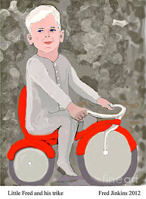 Little Boy Mixed Media - Little Fred And His Trike. by Fred Jinkins