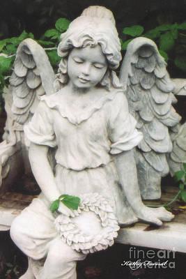 Little Girl Garden Angel Holding Wreath  Art Print