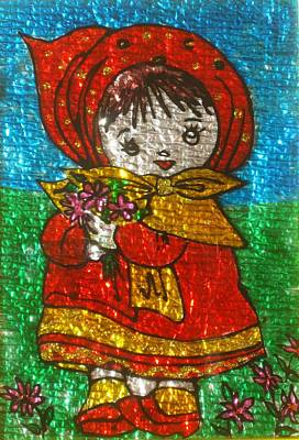 Painting - Little  Girl - Glass Painting by Rejeena Niaz