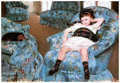 Little Master Painting - Little Girl In A Blue Armchair by Mary Cassatt