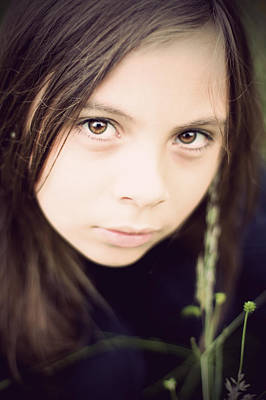 Photograph - Little Girl In Field With Huge Eyes by Ethiriel  Photography