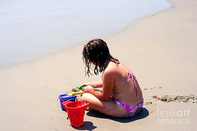 Photograph - Little Girl Playing In Sand On Beach by Susan Stevenson