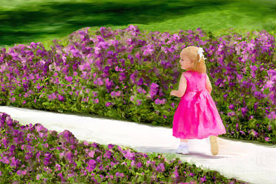 Painting - Painting Little Girl Playing On Sidewalk Between Flower Borders. by Sherry  Curry