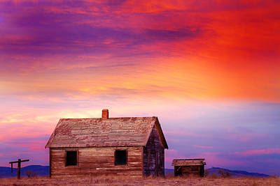 Little House On The Prairie Colorful Colorado Country Sunset Art Print