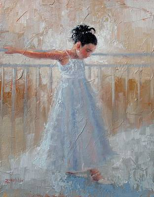 Hued Painting - Little Lady by Laura Lee Zanghetti
