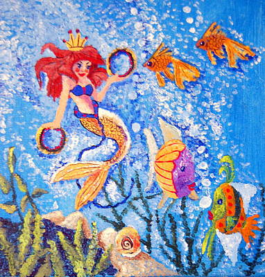 Angel Mermaids Ocean Painting - Little Mermaid In The Sea by Janna Columbus