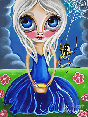 Pop Surrealism Painting - Little Miss Muffet by Jaz Higgins