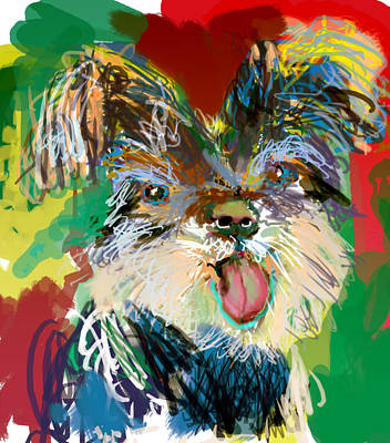 Miniature Schnauzer Puppy Digital Art - Little Monkey Girl by James Thomas