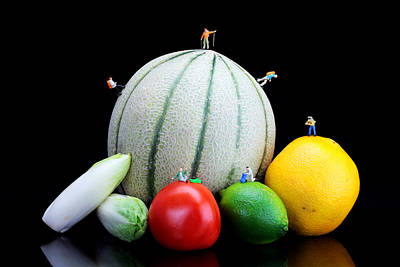 Scale Digital Art - Little People Hiking On Fruits by Paul Ge