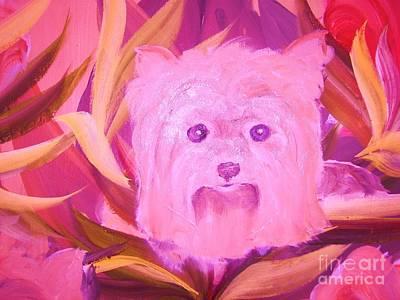 Little Pink Yorkie Art Print by Rachel Carmichael