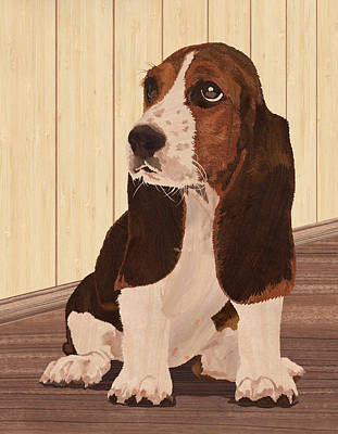 Marquetry Mixed Media - Little Puppy - Wood Art by Vincent Doan