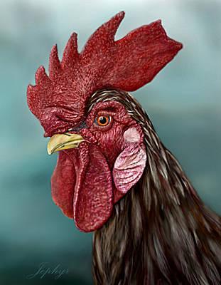Arizona Artist Jeff Curtis Digital Art - Little Red Rooster by Jephyr Art