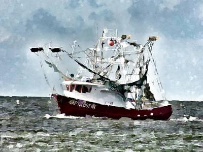 Little Red Shrimp Boat Art Print by Scott Crump