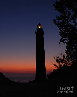 Photograph - Little Sable Point Lighthouse After Sunset by Grace Grogan