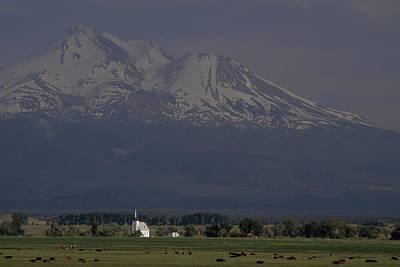 Little Shasta Church With Mt. Shasta Art Print