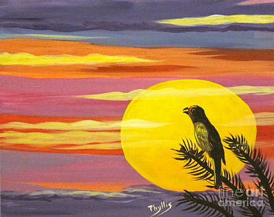 Painting - Little Sunset Bird by Phyllis Kaltenbach