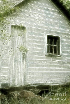 Shed Mixed Media - Little White Building Onaping by Marjorie Imbeau