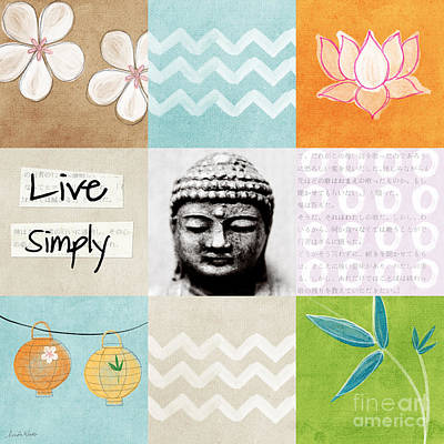 Chevron Mixed Media - Live Simply by Linda Woods