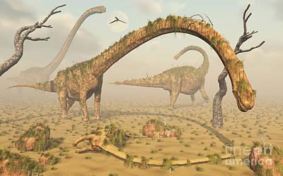 Carcass Digital Art - Living Fossilized Omeisaurus Sauropod by Mark Stevenson