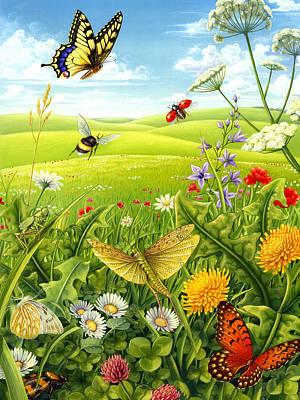 Grasshopper Mixed Media - Living Meadow by Anne Wertheim