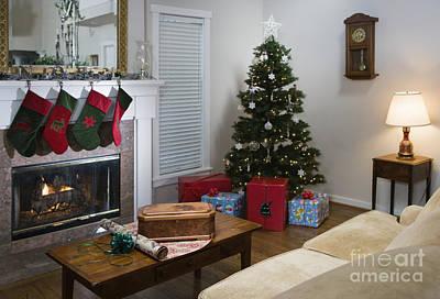 Living Room At Christmas Art Print by Andersen Ross