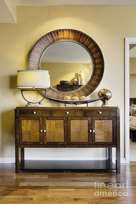 Living Room Cabinet With Mirror Art Print