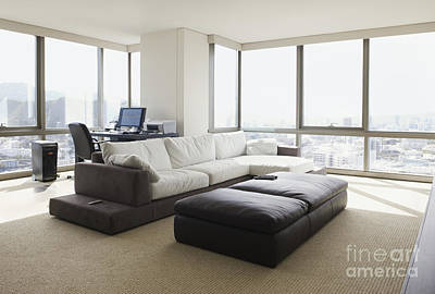 Living Room With A City View Art Print