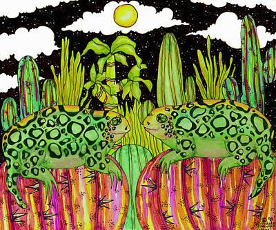 Lizards In Love Print by Dede Shamel Davalos