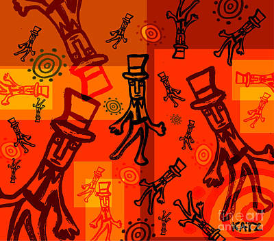 Abstracto Mixed Media - Llegando A La Fiesta by Daniel Katz