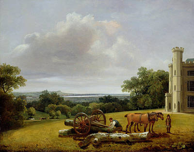 Nineteenth Century Painting - Loading A Timber Wagon At Cave Castle Yorkshire by George Arnald