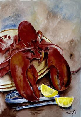 Lemon Digital Art - Lobster Feast by Arline Wagner