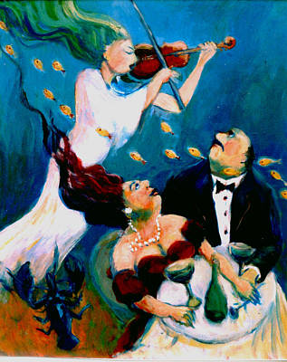 Painting - Lobster Romance by Anne Marie Bourgeois