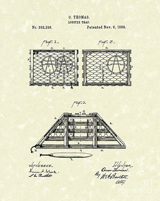 Lobster Trap 1888 Patent Art Art Print by Prior Art Design