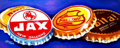 Painting - Local Beer Caps by Terry J Marks Sr