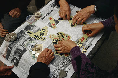 Paper Jewelry Photograph - Locals Play A Chinese Card Game by Justin Guariglia