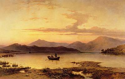 Fishing From Boat Painting - Loch Etive From Bonawe In The Evening by George Edwards Hering