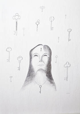 Metal Point Drawing - Locked Away by Jeff Gould